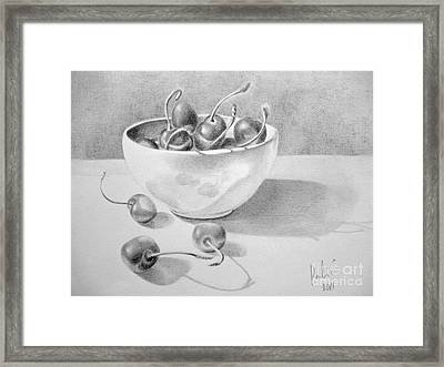 Framed Print featuring the painting Cherries In White Bowl by Eleonora Perlic