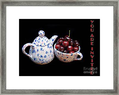 Cherries Invited To Tea Invitation Framed Print by Andee Design