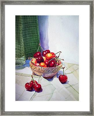 Cherries Framed Print by Irina Sztukowski