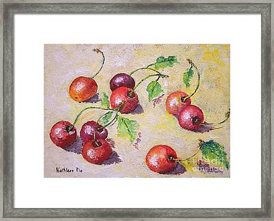 Cherries On The Ground Framed Print by Kathleen Pio