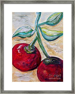 Cherries On White Chocolate Framed Print by Eloise Schneider