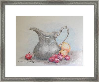 Framed Print featuring the drawing Cherries Still Life by Marilyn Zalatan