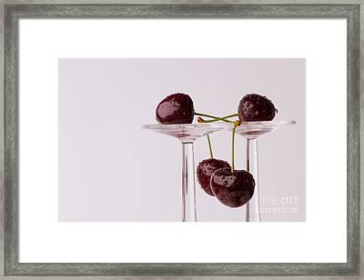 Cherries With Glasses Framed Print by Christine Sponchia