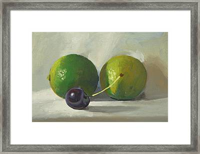 Cherry And Limes Framed Print by Peter Orrock