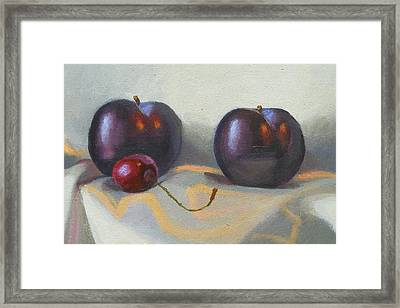 Cherry And Plums Framed Print by Peter Orrock