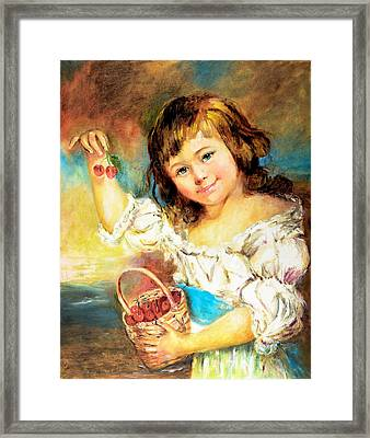 Cherry Basket Girl Framed Print by Sher Nasser
