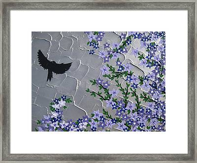 Cherry Blossom And Bird Framed Print by Cathy Jacobs