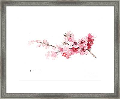 Cherry Blossom Art Print Watercolor Painting Framed Print