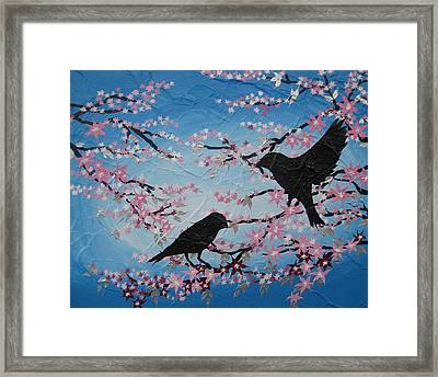Cherry Blossom Birds Framed Print by Cathy Jacobs