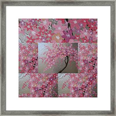 Cherry Blossom Collage Framed Print by Cathy Jacobs