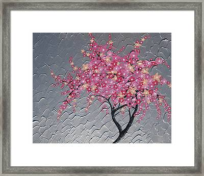 Cherry Blossom In Pink Framed Print by Cathy Jacobs