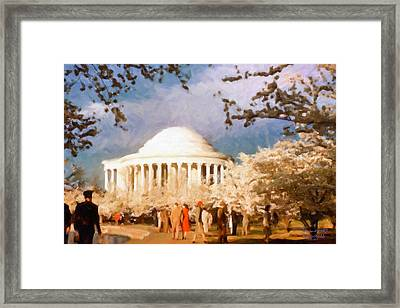 Cherry Blossom Jefferson Memorial 1950s Framed Print by Spyder Webb