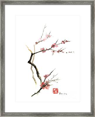 Cherry Blossom Sakura Flowers Pink Red White Brown Black Tree Flower Watercolor Painting Framed Print