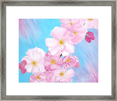 Framed Print featuring the painting Cherry Blossom. Soul  Collection. by Oksana Semenchenko