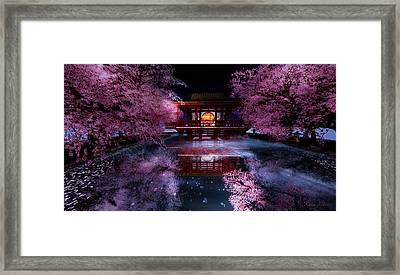 Cherry Blossom Tea House Framed Print by Kylie Sabra