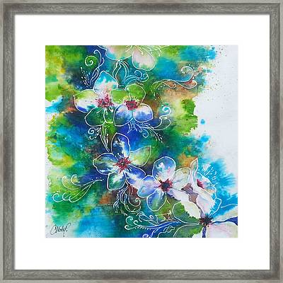 Framed Print featuring the painting Cherry Blossom Tree by Christy  Freeman