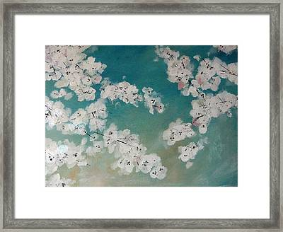 Cherry Blossoms Against Sky Framed Print by Lynne McQueen