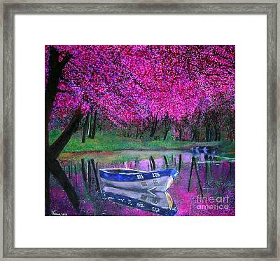 Framed Print featuring the painting Cherry Blossoms By The Lake by Marie-Line Vasseur