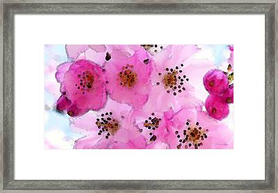 Cherry Blossoms - Flowers So Pink Framed Print by Sharon Cummings