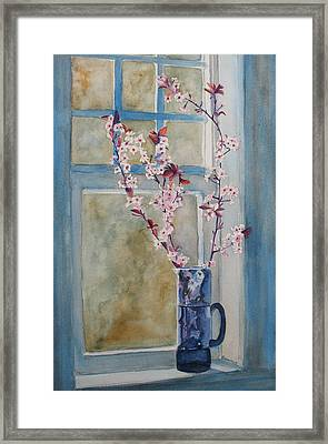 Cherry Blossoms In A Blue Pitcher Framed Print