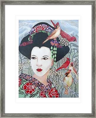 Framed Print featuring the painting Cherry Blossoms by Suzanne Silvir
