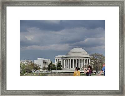 Cherry Blossoms With Jefferson Memorial - Washington Dc - 011341 Framed Print