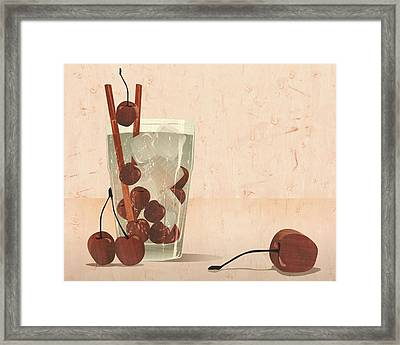 Cherry Cocktail Marqquetry Framed Print