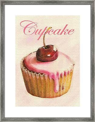 Cherry Cupcake Framed Print by Jane Schnetlage