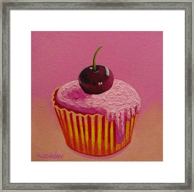 Cherry Cupcake Framed Print by John  Nolan