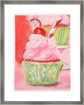 Cherry Limeade Cupcake Framed Print