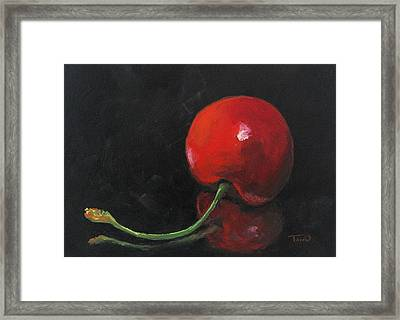 Cherry On Black Framed Print by Torrie Smiley