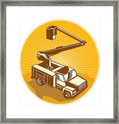 Cherry Picker Bucket Truck Access Equipment Retro Framed Print by Aloysius Patrimonio