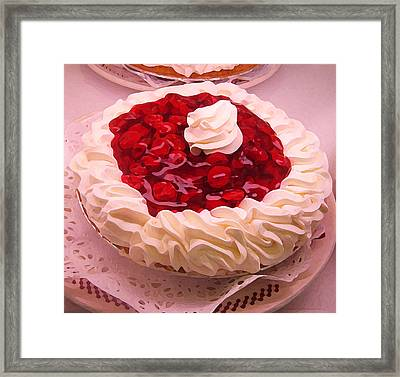 Cherry Pie With  Whip Cream Framed Print by Amy Vangsgard