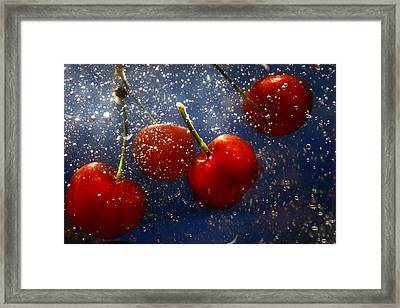 Framed Print featuring the photograph Cherry Splash by Paula Brown