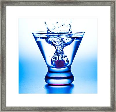 Cherry Splash With Blue Over-tones Framed Print