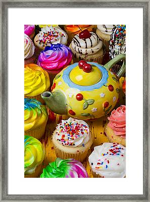 Cherry Teapot And Cupcakes Framed Print by Garry Gay