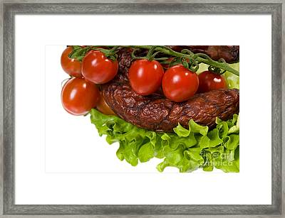 Sausage With Lettuce And Cherry Tomato  Framed Print by Arletta Cwalina