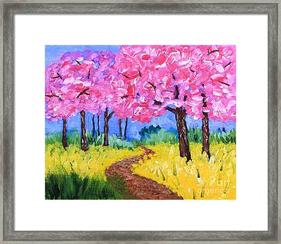Cherry Trees And Field Mustard After The Rain Acrylic Painting Framed Print by Beverly Claire Kaiya