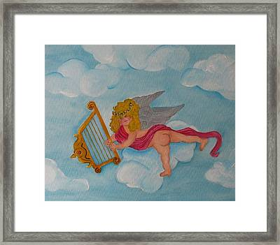 Framed Print featuring the photograph Cherub In The Clouds by Margaret Newcomb