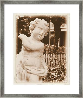 Framed Print featuring the photograph Cherub In The Garden by Nadalyn Larsen
