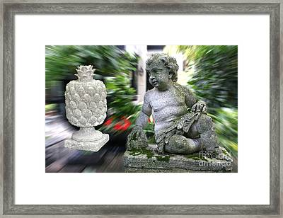 Cherub Levitating Pineapple #2 Framed Print by David Wallace Crotty