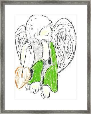 Cherub With Leaf Framed Print by Michael Snincsak