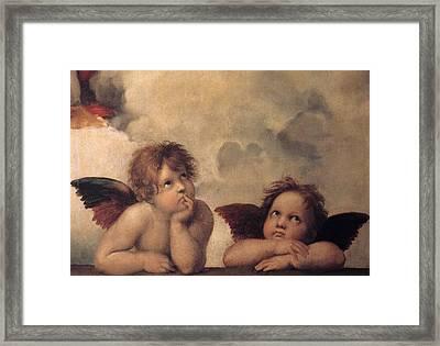 Cherubs On The Sistine Chapel Framed Print by Raphael