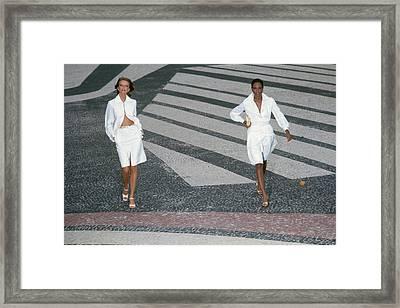 Cheryl Tiegs In A Silk Suit And Beverly Johnson Framed Print by Kourken Pakchanian