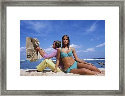 Cheryl Tiegs Modeling A Bikini At A Beach Framed Print