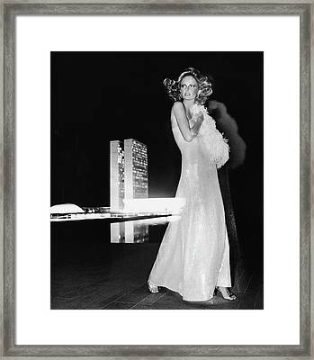 Cheryl Tiegs Wearing A Halston Evening Gown Framed Print