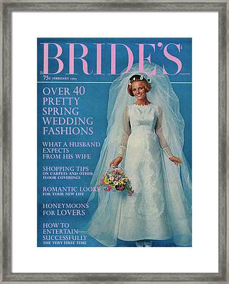 Cheryl Tiegs Wearing A Wedding Dress By Edythe Framed Print by Another Studio