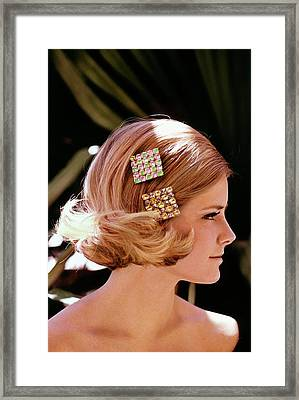 Cheryl Tiegs Wearing Rhinestone Barrettes Framed Print by William Connors