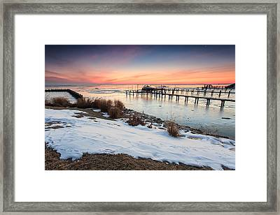 Framed Print featuring the photograph Chesapeake Bay Freeze by Jennifer Casey