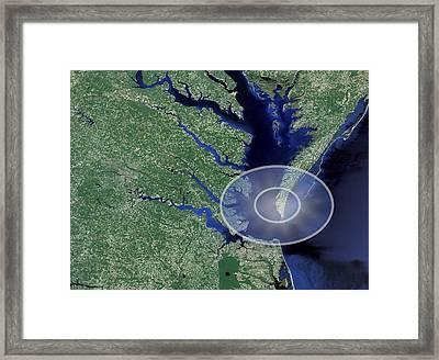 Chesapeake Bay Impact Site Framed Print by Nasa/science Photo Library